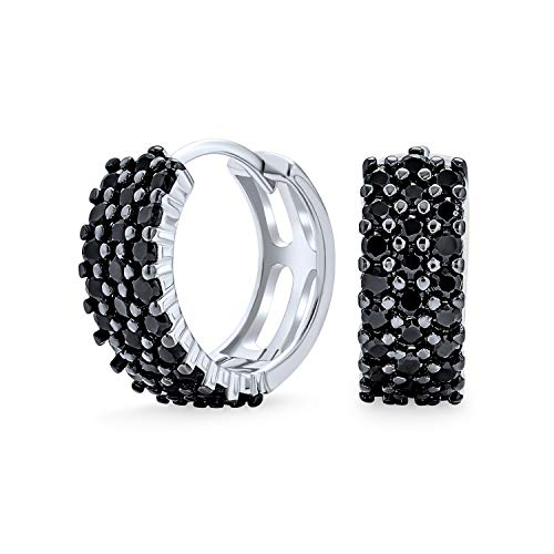 Black Pave CZ Wide Huggie Hoop Kpop Earrings For Women For Men Cubic Zirconia 925 Sterling Silver .50 In Dia from Bling Jewelry