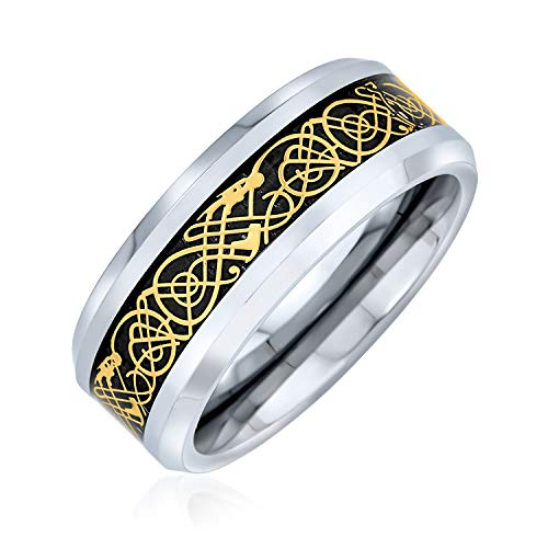 Bling Jewelry Golden Black Silver Two Tone Celtic Knot Dragon Inlay Couples Wedding Band Tungsten Rings for Men for Women 8MM from Bling Jewelry