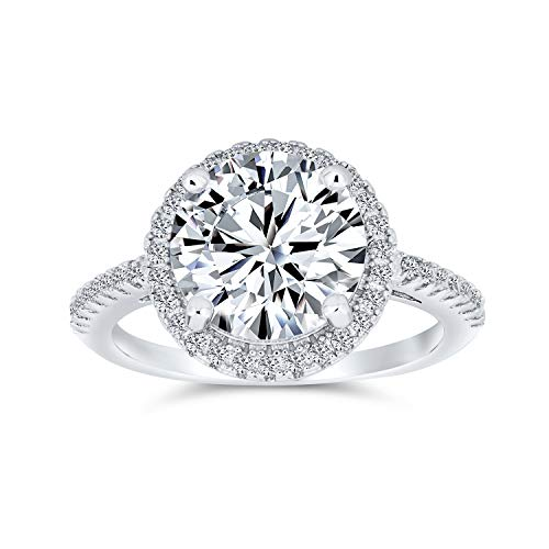 Bling Jewelry 3 CT Round Brilliant Solitaire AAA CZ Cubic Zirconia Halo Statement Engagement Ring Thin Pave Band 925 Sterling Silver from Bling Jewelry