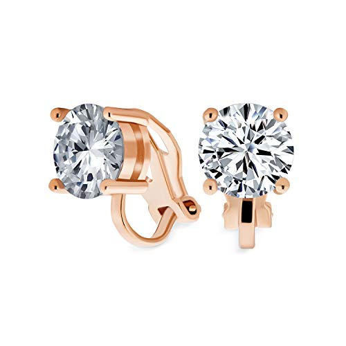 2CT Brilliant Cut Solitaire Round Cubic Zirconia CZ Clip On Stud Earrings For Women Rose Gold Plated Brass from Bling Jewelry