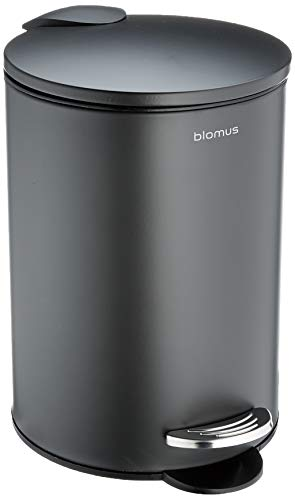 blomus -Tubo pedal bin made of powder-coated steel, anthracite, 3L capacity, smart close system, removable bucket, exclusive bathroom accessory (H x W x D): 24.5 x 17 x 17 cm, anthracite, 6888) from Blomus