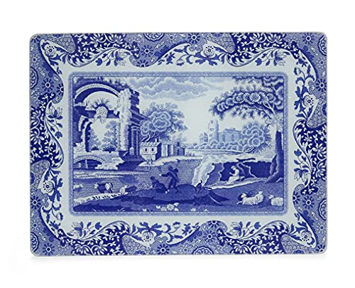 Portmeirion Home & Gifts Blue Italian Glass Worktop Saver, blue & white, 30 x 40cm from Portmeirion Home & Gifts