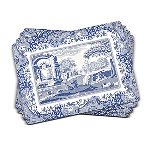 Blue Italian Placemats, Wood, Blue and White, 40.1 x 29 x 0.58 cm from Portmeirion Home & Gifts