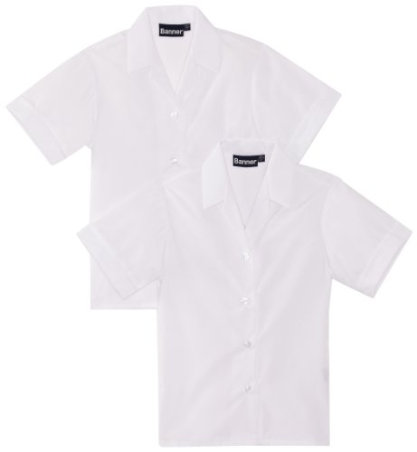 "Blue Max Banner Girl's Revere Twin Pack Short Sleeve School Blouse, White, 46"" Chest from Blue Max Banner"