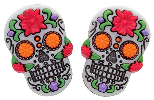 Bluebubble DIA DE LOS MUERTOS Red Flower Skull CLIP ON Earrings With FREE Gift Box from Bluebubble