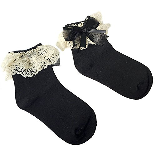 Bluelans® Baby/Girls Black Soft Lace Ruffle Frilly Ankle Socks Fashion Princess Girl Gift (Small (Age 1-3), Black) from Bluelans
