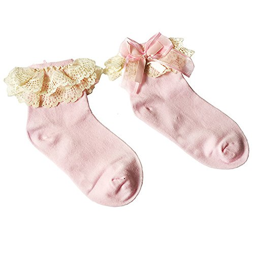 Bluelans® Baby/Girls Pink Soft Lace Ruffle Frilly Ankle Socks Fashion Princess Girl Gift (Small (Age 1-3), Pink) from Bluelans