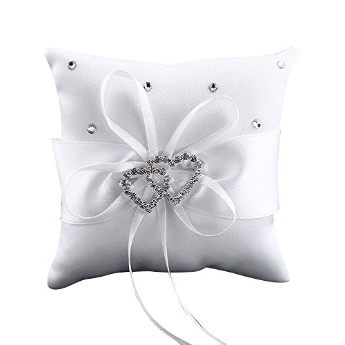 Bluelans® Double-Heart Rhinestone Wedding Ring Pillow Cushion Bearer White from Bluelans