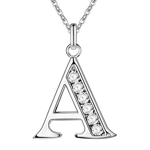 Bluelans® Letter Necklace, Silver Tone Alphabet Initial Pendant Necklace Personalised Gifts for Women Men Ladies Girls (A) from Bluelans