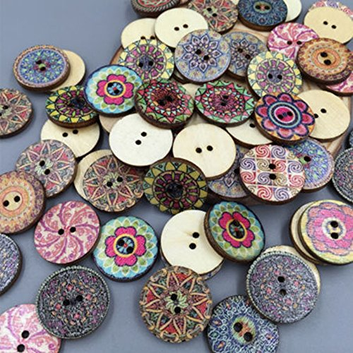 Bluelans® Pack of 100 PCS Assorted Retro Style Flower Buttons-Wood Buttons Sewing Scrapbooking 2 Holes from Bluelans