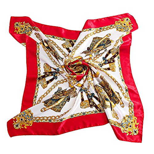 Bluelans® Women Flower Printing Square Scarves Bandana Scarf Headscarf (Red-Gold) from Bluelans