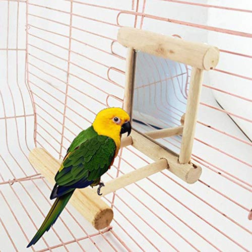Bluelans Funny Wooden Bird Toy Mirror Stand Platform Toys for Parrots Cockatiel Vogel Xmas Gifts from Bluelanss