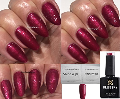 Bluesky 80509 Red Baroness Red Beam Shimmer Nail Gel Polish UV LED Soak Off 10ml PLUS 2 Homebeautyforyou Shine Wipes from Bluesky