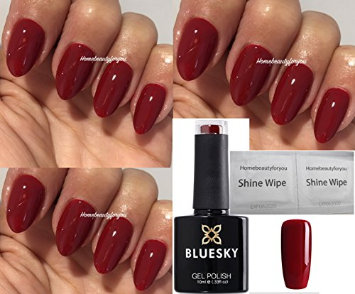 Bluesky 80575 Paradise Deep Red Scarlet Letter Nail Gel Polish UV LED Soak Off 10ml PLUS 2 Homebeautyforyou Shine Wipes from Bluesky