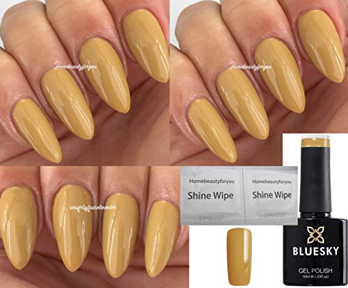 Bluesky MUSTARD YELLOW AW1802 NEW Autumn Winter TERRA FIRMA Mustard Nail Gel Polish UV LED Soak Off 10ml PLUS 2 Homebeautyforyou Shine Wipes from Bluesky