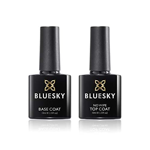 Bluesky No Wipe Top Coat and Soak Off Base Coat Bundle, 10 ml (Requires Drying Under UV or LED Lamp) from Bluesky