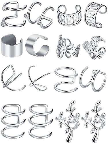 8 Pairs Stainless Steel Ear Cuff Non Piercing Clip on Cartilage Earrings for Men Women (Steel, Style Set 1) from Blulu