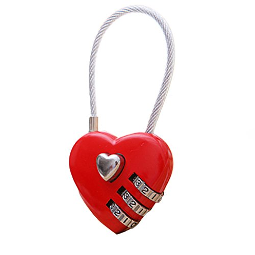 Bodhi2000 Mini Love Heart Lock 3 Digit Resettable Combination Luggage Suitcase Bag Padlock from Bodhi2000