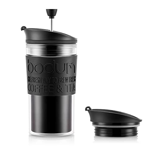 Bodum Travel Press Set Coffee Maker with Extra Lid, 0.35 L/12 oz - Black from Bodum