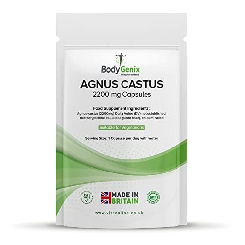 HIGH Strength Agnus CASTUS 2200mg Capsules Regulate Hormones, Natural HRT Vegetarian (30) from Bodygenix