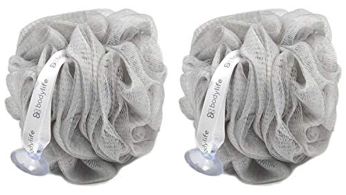 Bodylife Exfoliating Bath & Shower Body Puff/Scrunchie/Buffer Grey & White 55g Twin Pack from Bodylife
