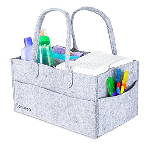 Baby Nappy Caddy by Bonbino - Luxury Portable Nappy Storage with Changeable Compartments. for Home, Car & Nursery Organiser for Nappies and Baby Wipes - Royal Grey Nursery Storage Bin from Bonbino