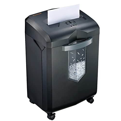 Bonsaii 18-Sheet Paper Shredder, 60-Minute Heavy-Duty Cross-Cut CD and Credit Card Shredder Machine for Large Office and Home Use, 23-Litre Pullout Bin with 4 Casters, Black (C149-C) from Bonsaii