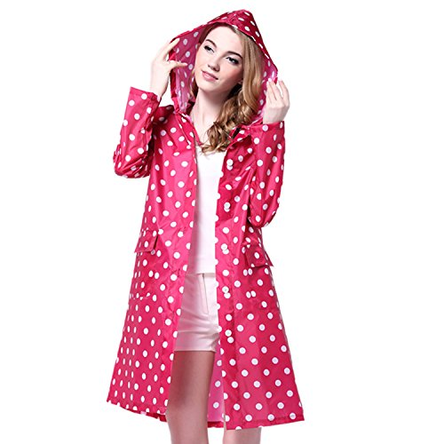 Boodtag Women's Long Sleeve Dot Waterproof Raincoat Fashion Portable Foldable Rainwear Rain Jacket outdoor (Red) from Boodtag