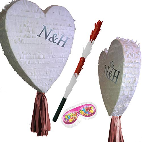 Boogie Woogie Pinatas White Heart Pinata set for Wedding, Engagement Prom or Birthday Party from Boogie Woogie Pinatas