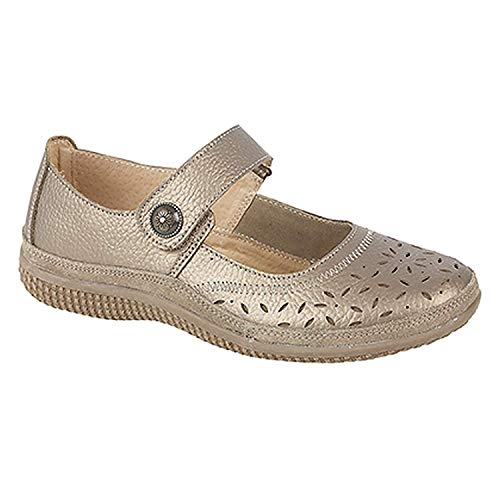 145183816f5d Boulevard ALEX Ladies Extra Wide EEE Leather Velcro Mary Jane Shoes Bronze  UK 6 from Boulevard