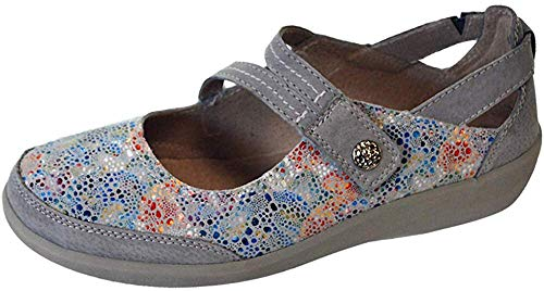 Boulevard Ladies Super Comfy Wide Fit Velcro Casual Shoes (3, Grey/Multi) from Boulevard