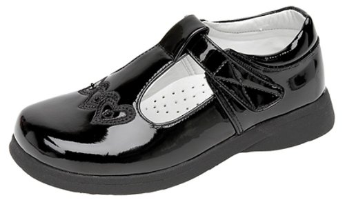 Girls Touch Fastening T-bar Shoes BLACK PATENT size 2 UK from Boulevard