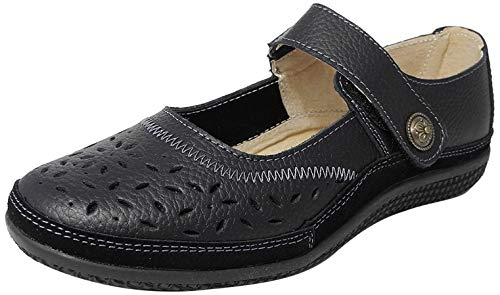 Womens Ladies X Wide EEE Fit Leather Strap Shoes BLACK SIZE 8 from Boulevard