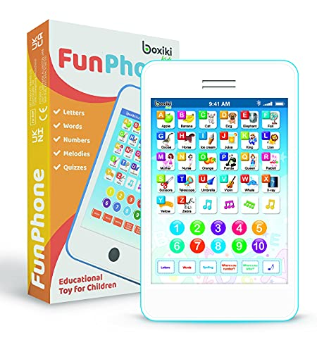 Boxiki Learning Pad Fun Phone with 6 Toddler Learning Games Kids. Touch and Learn Interactive Tablet for Learning Numbers, ABC and Spelling. Educational Toy for Children from Boxiki