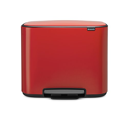Brabantia Bo Pedal Bin 23 Litre, Steel, Passion Red, 11 + 23 L from Brabantia