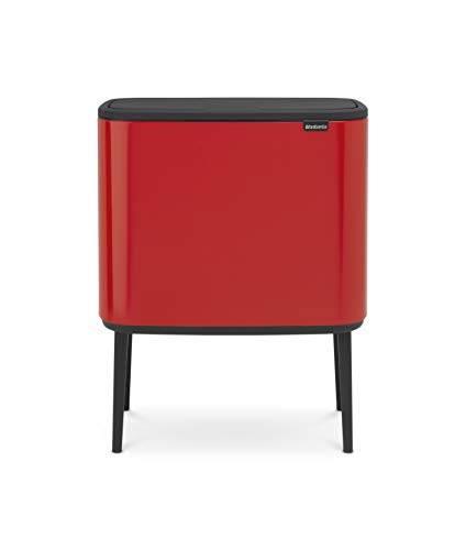 Brabantia Bo Touch Bin with Plastic Buckets, 3 x 11 L-Passion Red, Steel, 3 Inner from Brabantia