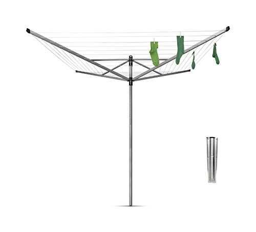Brabantia Lift-O-Matic Rotary Airer Washing Line with 45 mm Metal Soil Spear, 50 m - Silver from Brabantia