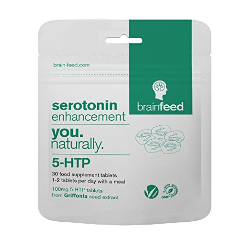 brain feed 5-htp Tablets 100mg | Serotonin Enhancement | 30 Tablets | 5-htp high Strength | Natural 5-htp from Griffonia Seed | Manufactured in The UK from brain feed
