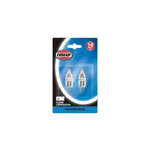 2x Eveready Clear G4 Capsule Halogen Bulb 10W 12V 2 Pin - from Branded
