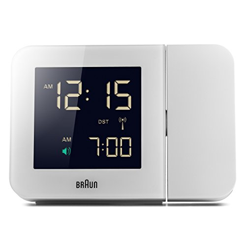 Braun Global Radio Controlled Projection Clock with UK Mains Adaptor BNC015WHUK-RC - White from Braun