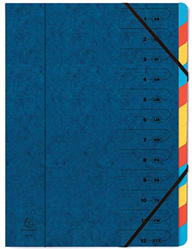 Exacompta Europa Multipart File, A4, 400gsm, 12 Sections - Blue from Exacompta