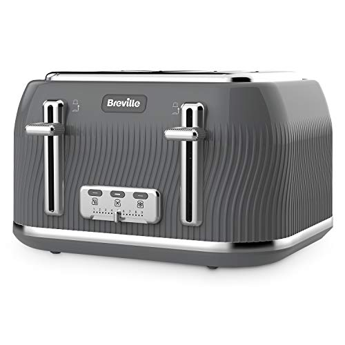 Breville VKT892 Flow 4-Slice Toaster with High-Lift and Wide Slots, Grey from Breville