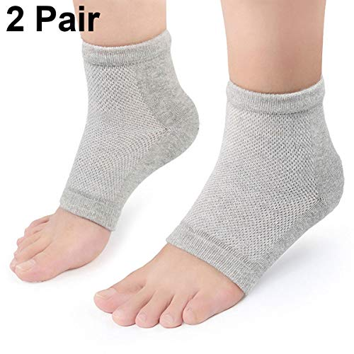 Moisturizing Gel Heel Socks 2 Pairs, Plantar Fasciitis Socks for Men and Women Foot Compression Sleeves Silicone Cotton Socks to Heal and Treat Dry Hard Cracked Skin Open Toe Feet Comfy Recovery Socks from BrilliStar