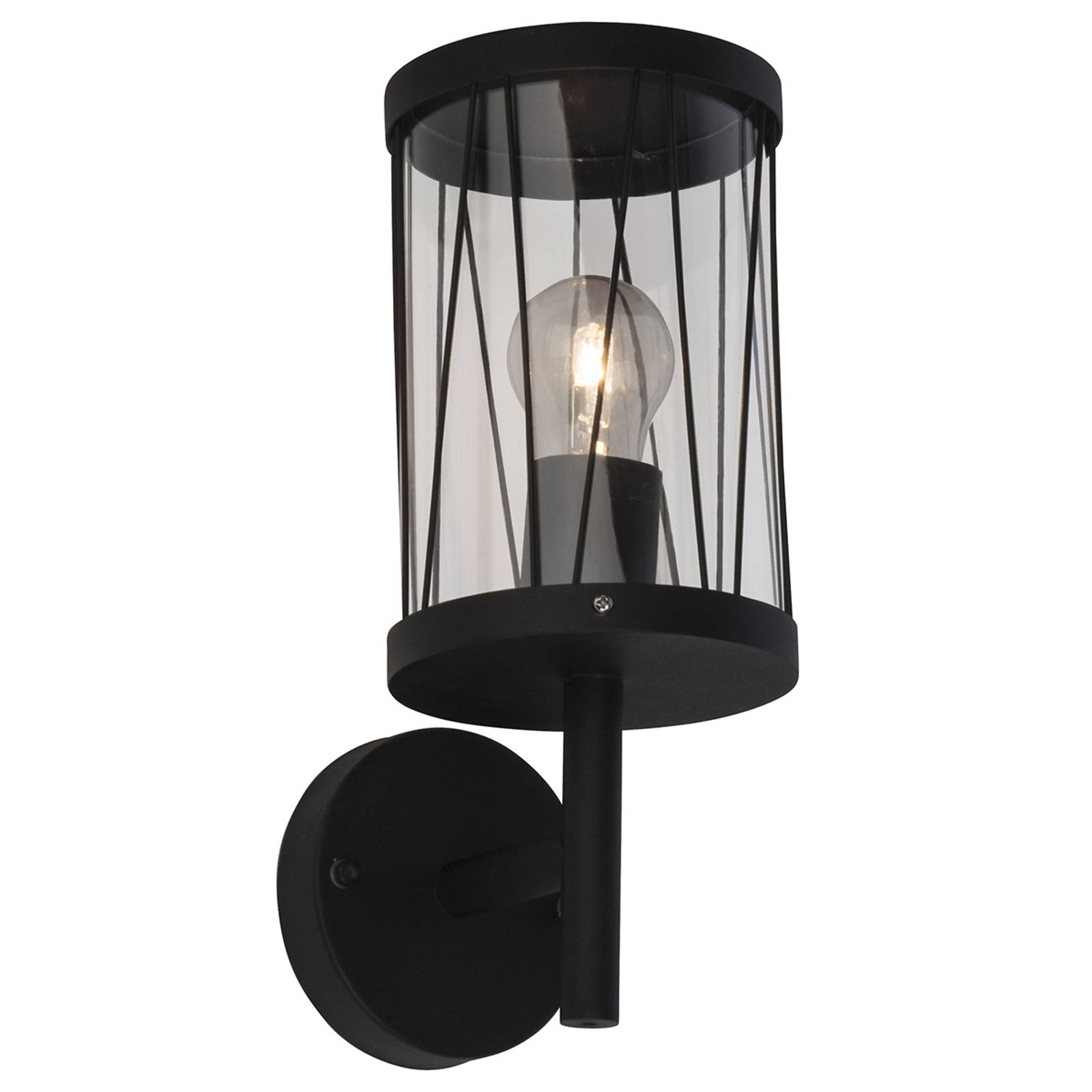 Black outdoor wall lamp Reed with wall bracket from Brilliant