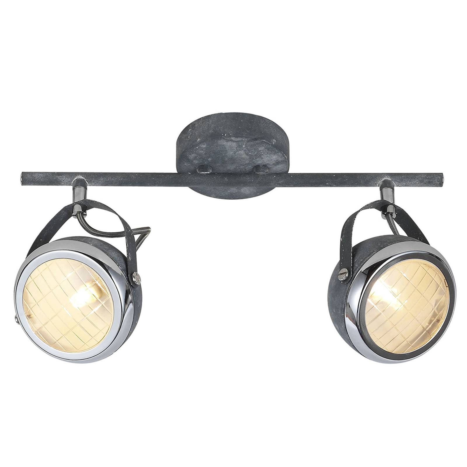Concrete grey ceiling light Rider, two-bulb from Brilliant