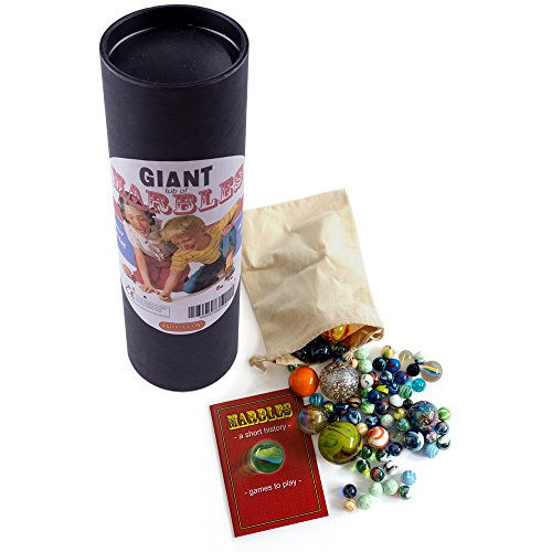 Giant tube of childrens marbles. Booklet bag & hand-picked glass marbles from Brimtoy