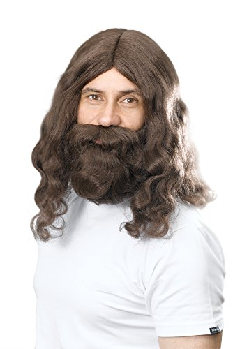 Bristol Novelty BW581 Hippy Jesus Wig and Beard Set, Brown, One Size from Bristol Novelty