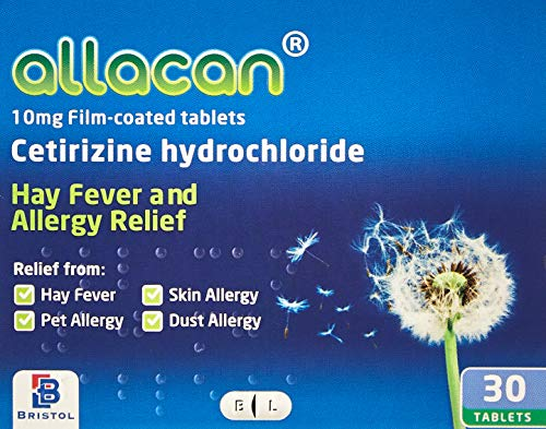 12 Months Supply Allacan Cetirizine Hayfever and Allergy Tablets 30 x 12 (30 x 2 in each box) from Allacan