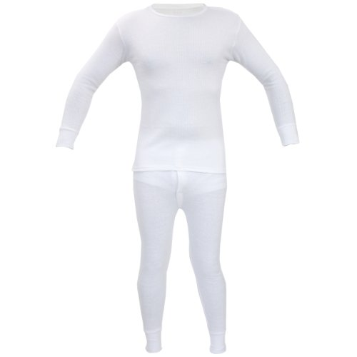 Kids Thermal Winter Warm Underwear Set Long John Bottom and Long Sleeve Top Size:Age 12-13 Years (Unisex Boy Girl Children) Colour:White from Britwear