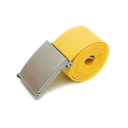 New Fashion Mens Womens Unisex Military Web Cotton Canvas Belt Metal Buckle (Yellow) from Broadfashion